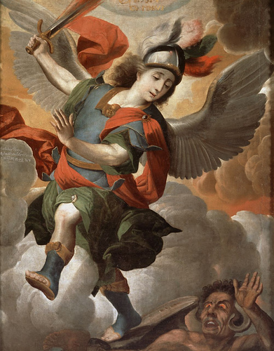 Michael archangel by an anonymous Bolivian painter (1708) Anonimo - San Miguel Arcangel, 1708.jpg