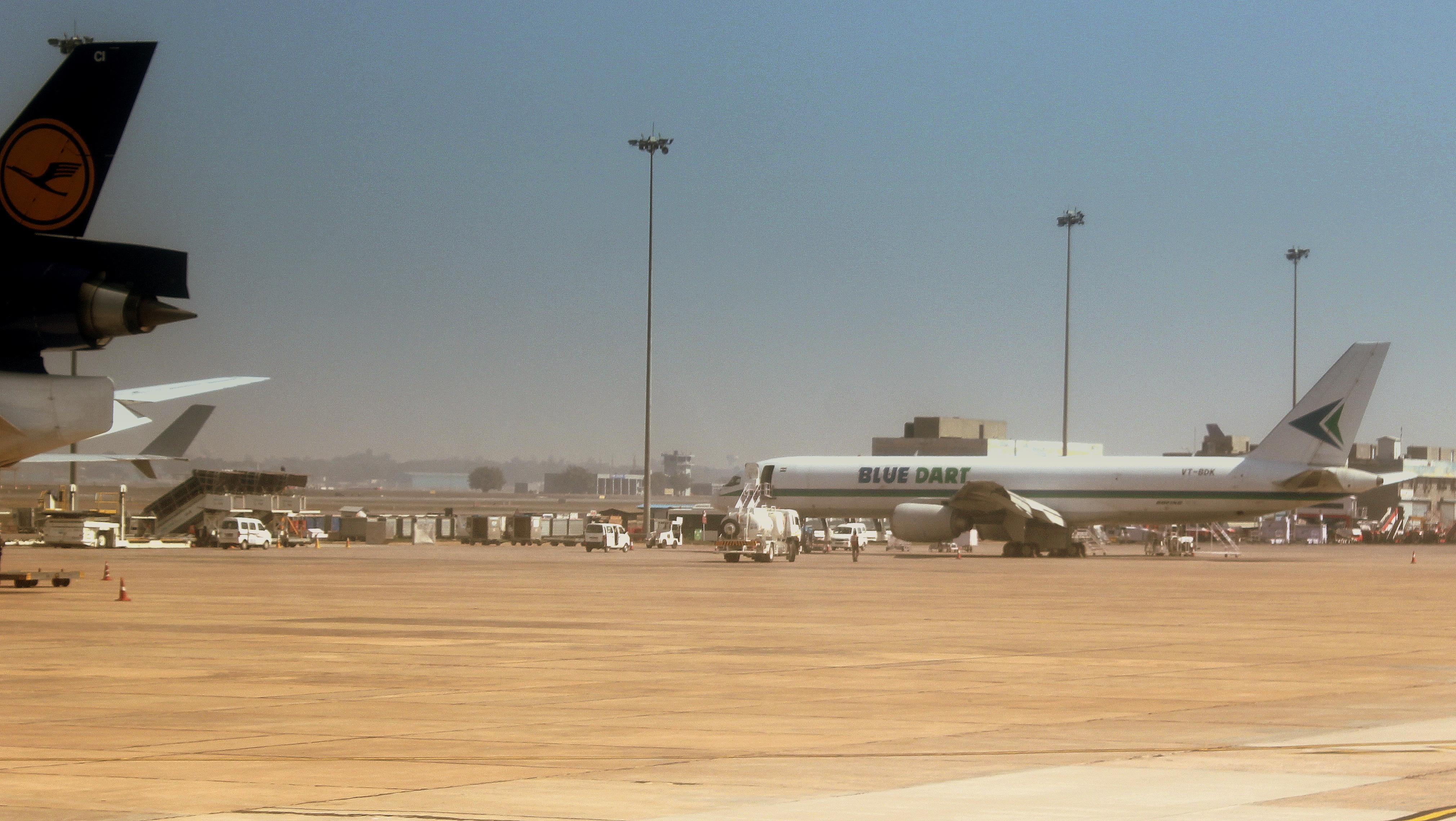 File:BLUE DART BOEING 757-200 FREIGHTER AT Indira Gandhi AIRPORT