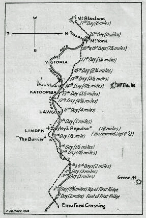 A sketch of their route, prepared by Frank Walker in 1913. The Great Western Road has been inserted to show how closely it has followed the track of the explorers in its general direction. Blaxland's route across the mountains in 1813.jpg