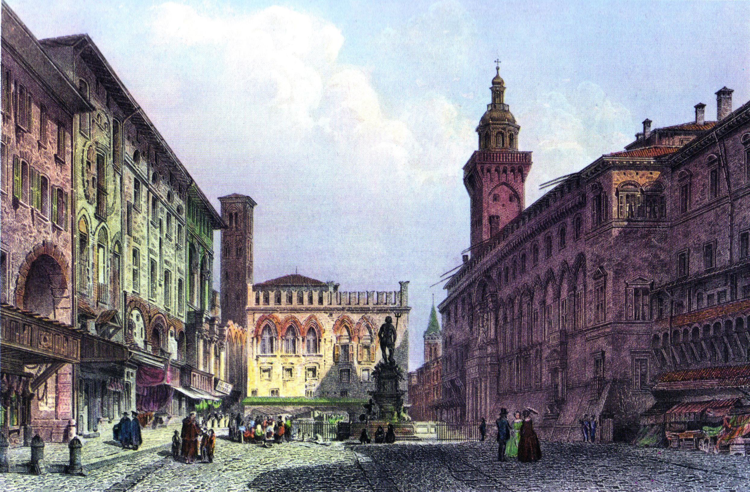 La Piazza Maggiore de Bologne, aux alentours de 1855 | Source: Wikimedia Commons