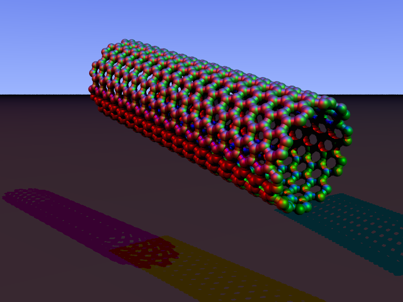 Model of a carbon nanotube. Credit: Arnero
