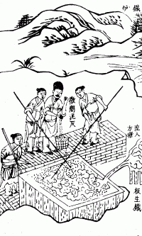 Puddling in China, circa 1637. Opposite to most alloying processes, liquid pig-iron is poured from a blast furnace into a container and stirred to remove carbon, which diffuses into the air forming carbon dioxide, leaving behind a mild steel to wrought iron.