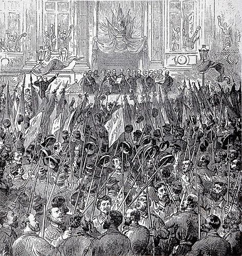 The celebration of the election of the Commune, 28 March 1871. The Paris Commune was a major early implementation of socialist ideas