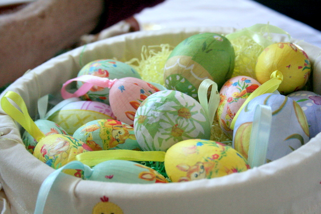 Decorated Easter eggs in basket, March 2008