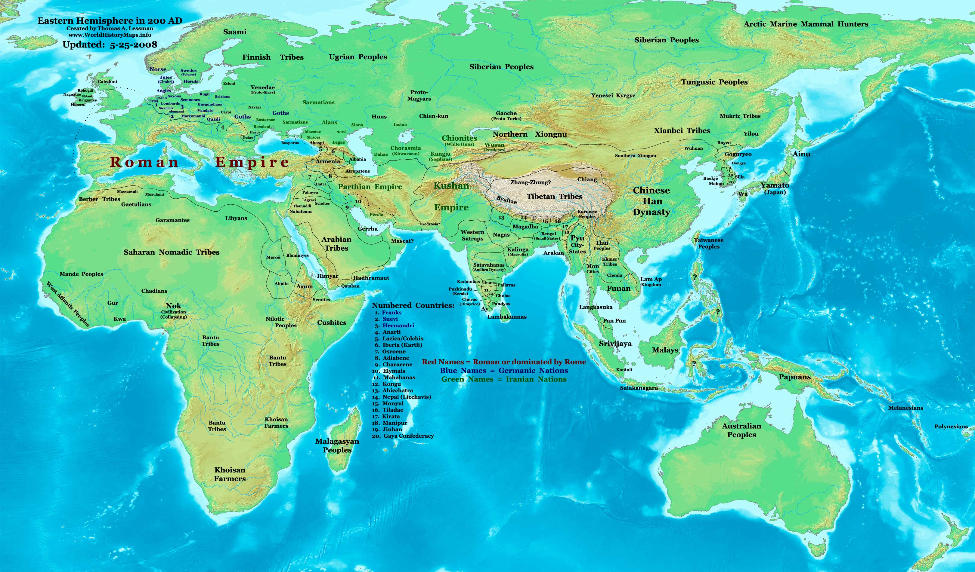 Eastern Hemisphere in 200 AD.