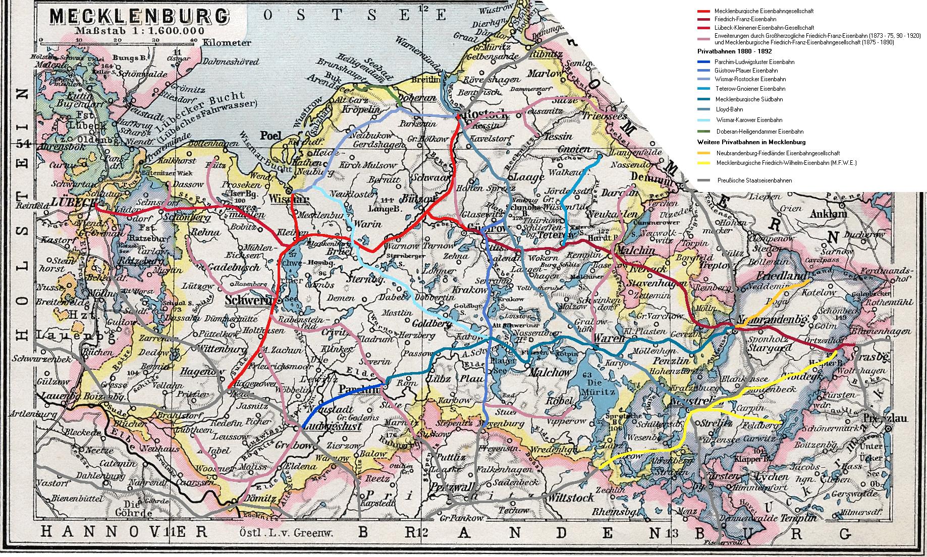 Eisenbahnnetz Mecklenburgs