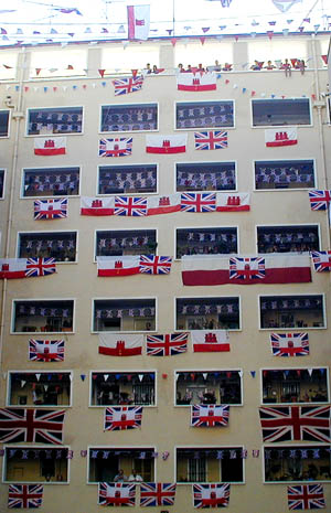 Tercentenary celebrations in Gibraltar. Gibraltar Tercentenary flag display.jpg