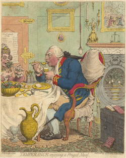 English: Temperance Enjoying a Frugal meal by James Gillray