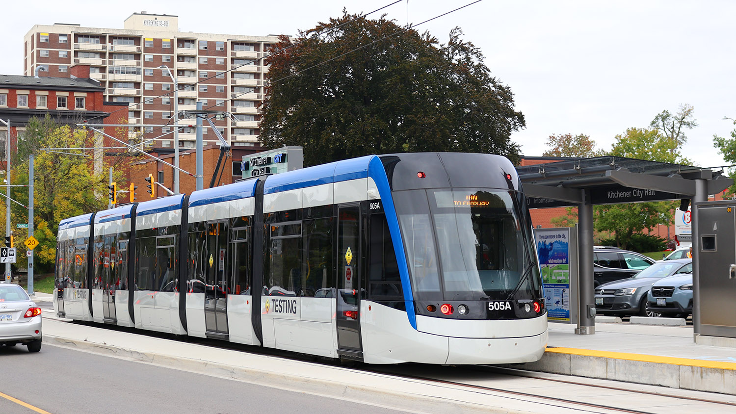 A Light Rapid Transit Train being tested at the Kitchener City Hall Station as part of the Grand River Transit System in 2018. Image captured by user *Youngjin, licensed by CC BY-SA 3.0.