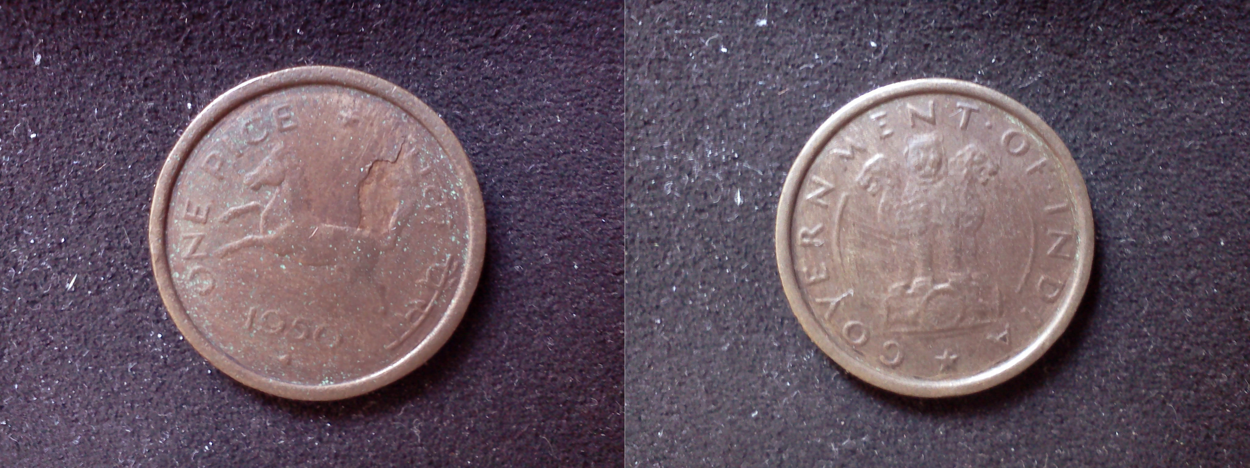 Both sides of copper-colored coin