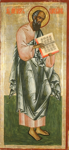 Russian Orthodox icon of the Apostle and Evangelist John the Theologian, 18th century (Iconostasis from the Church of the Transfiguration, Kizhi Monastery. John Evangelist.jpg