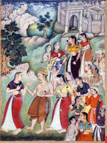 Kunti leading Gandhari. Description: Gandhari, blindfolded, supporting Dhritarashtra and following Kunti when Dhritarashtra became old and infirm and retired to the forest. A miniature painting from a sixteenth-century manuscript of part of the Razmnama, the Persian translation of the Hindu epic Mahabharata - Pandava