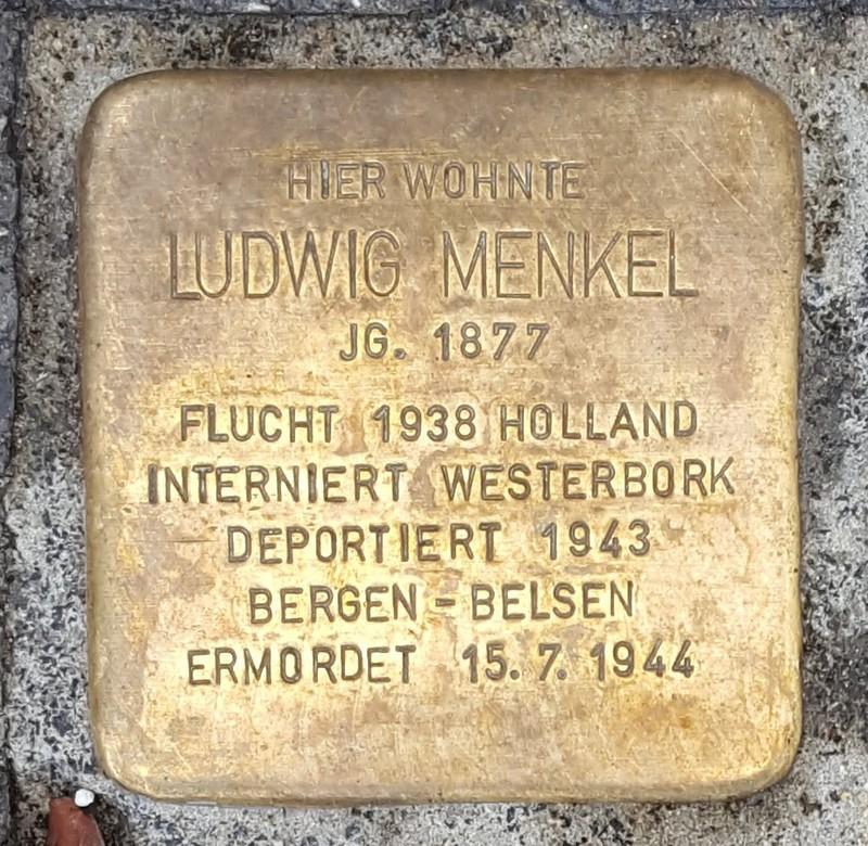 der Stolperstein für Ludwig Menkel