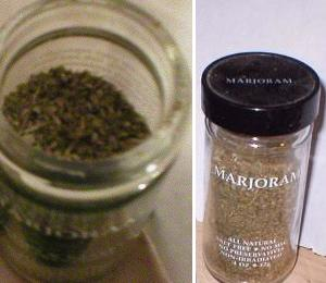 English: Bottle of Majoram spice. By uploader.