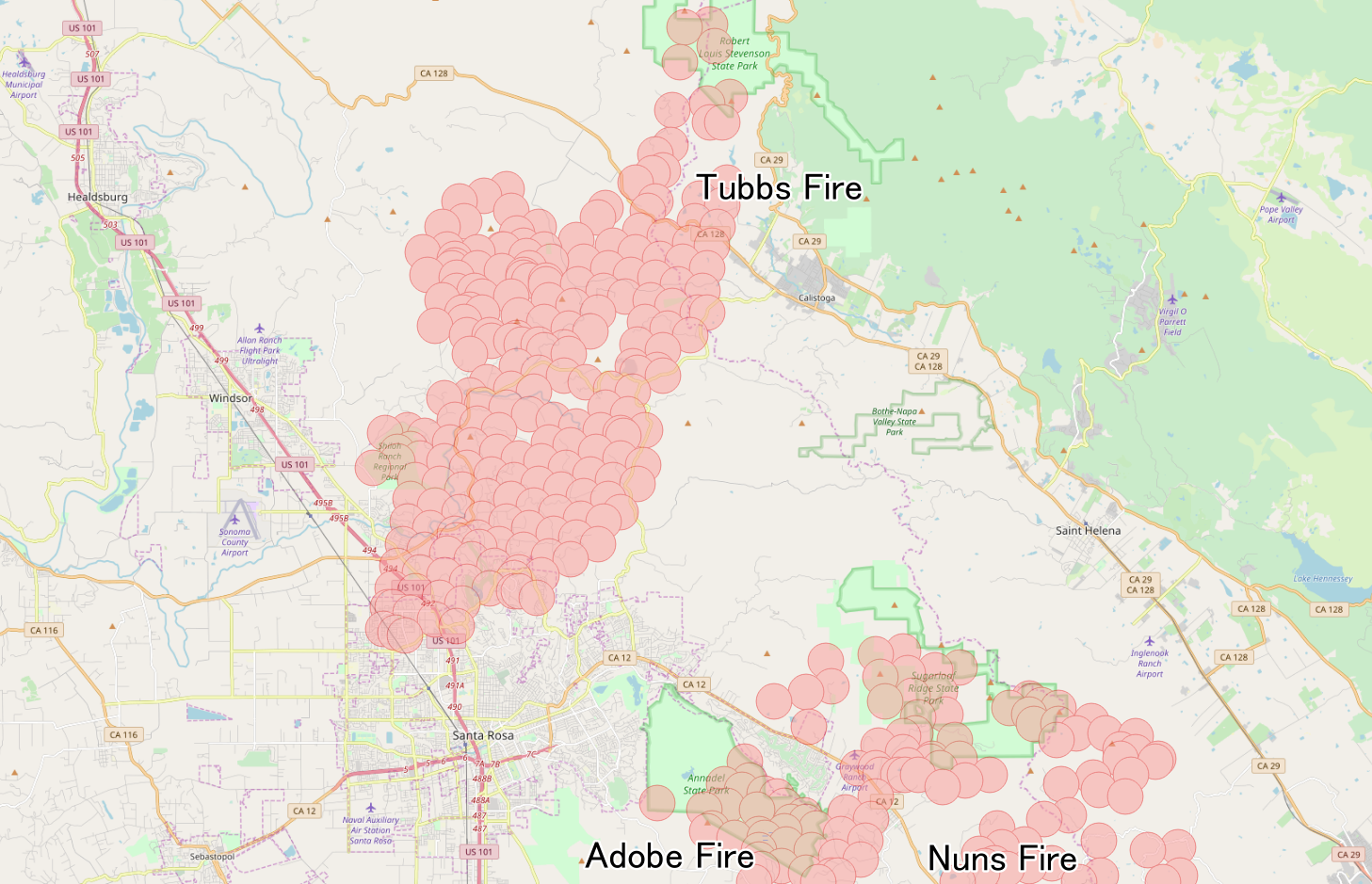 Santa Rosa California Map.Tubbs Fire Wikipedia