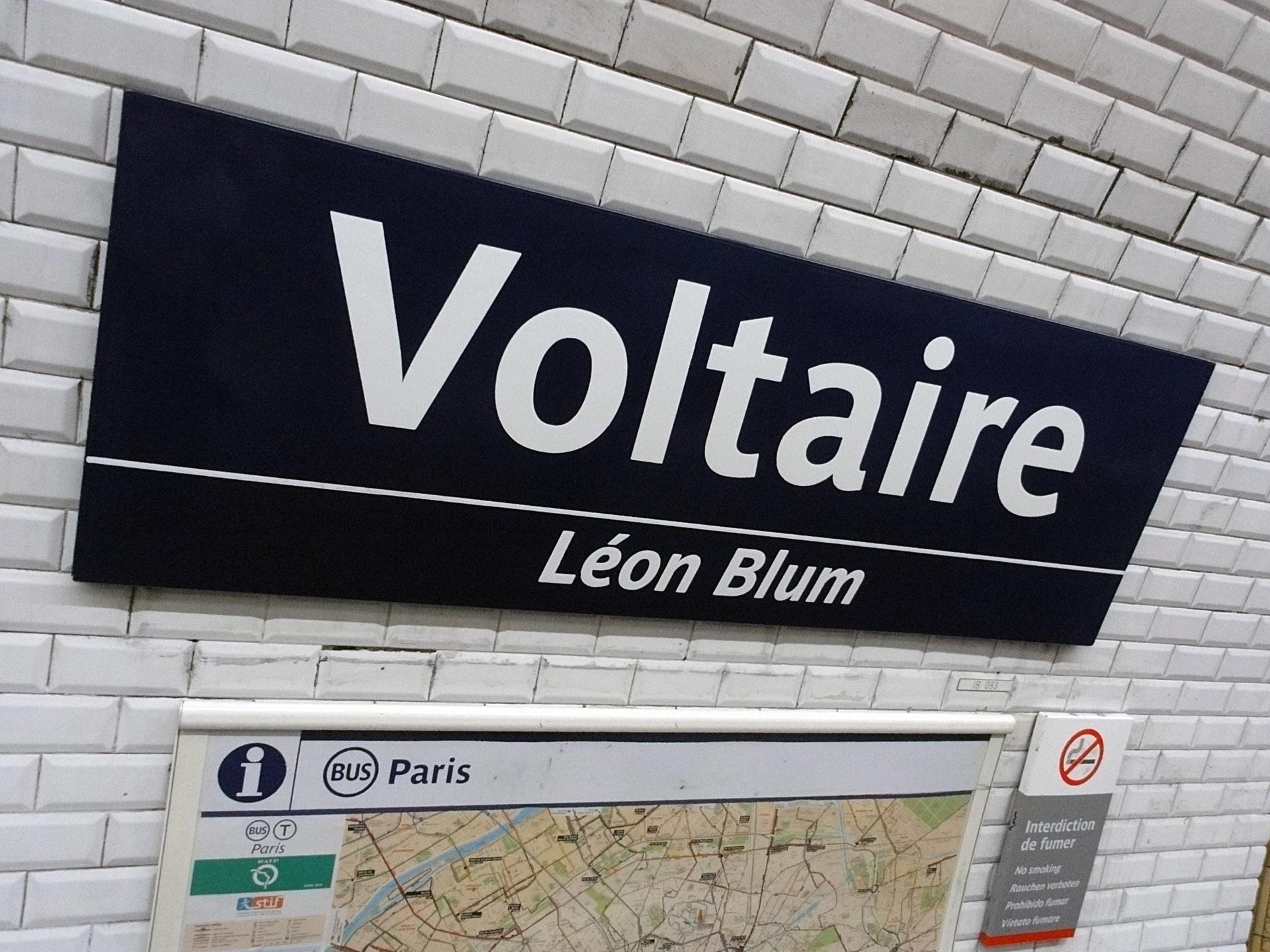 Plaque Metro Parisien Deco voltaire (métro paris) – wikipedia