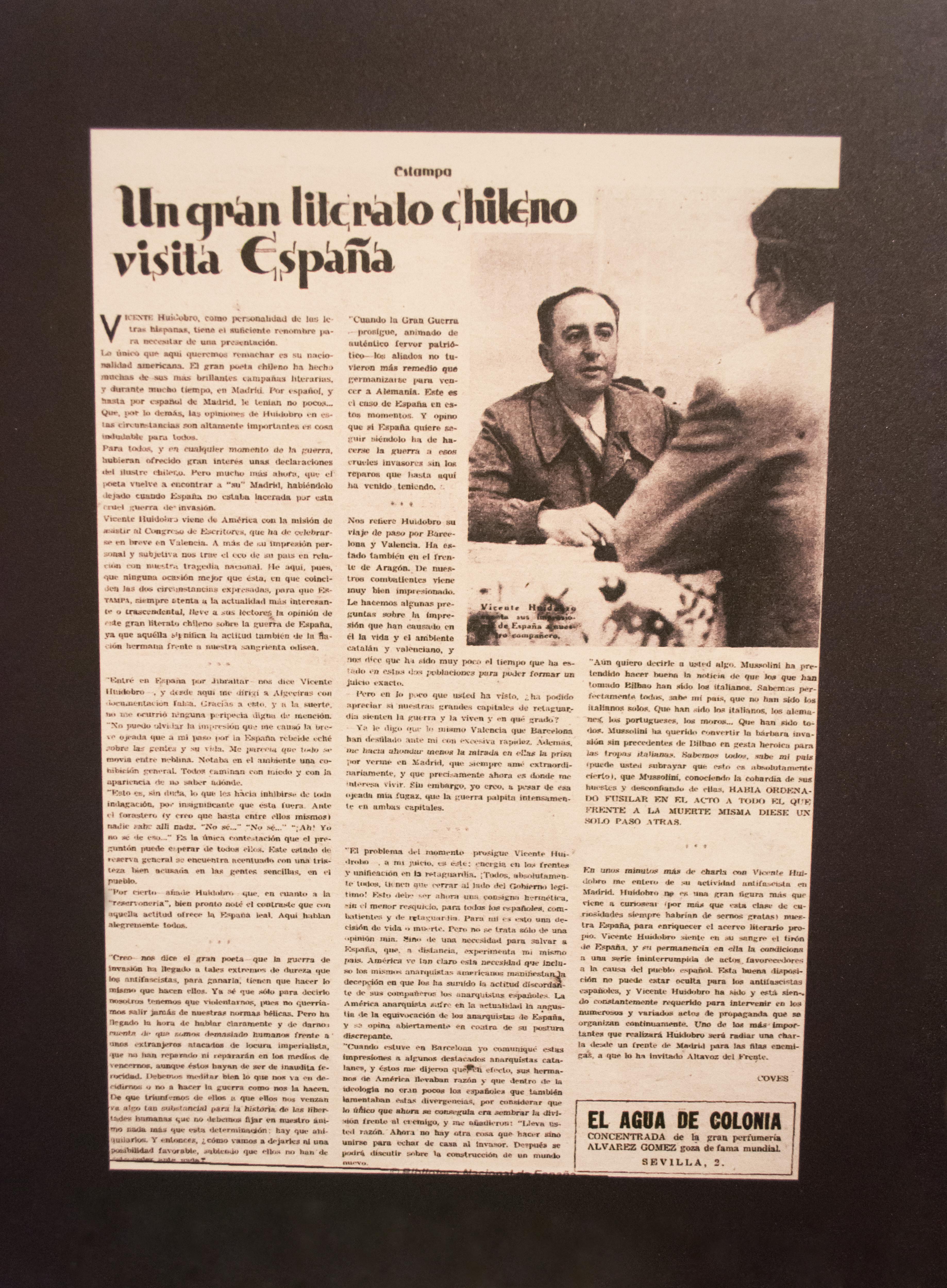 El compromiso de Huidobro con la II República Española en una entrevista para la revista Estampa, en el verano de 1937.
