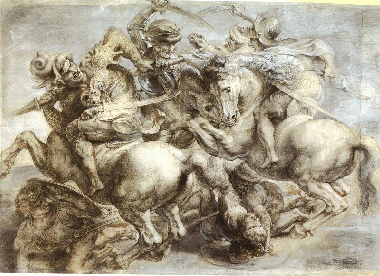 Boceto de La Batalla de Anghiari de Leonardo da Vinci donde colaboró Yáñez de la Almedina