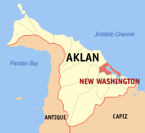 Map of Aklan showing the location of New Washington