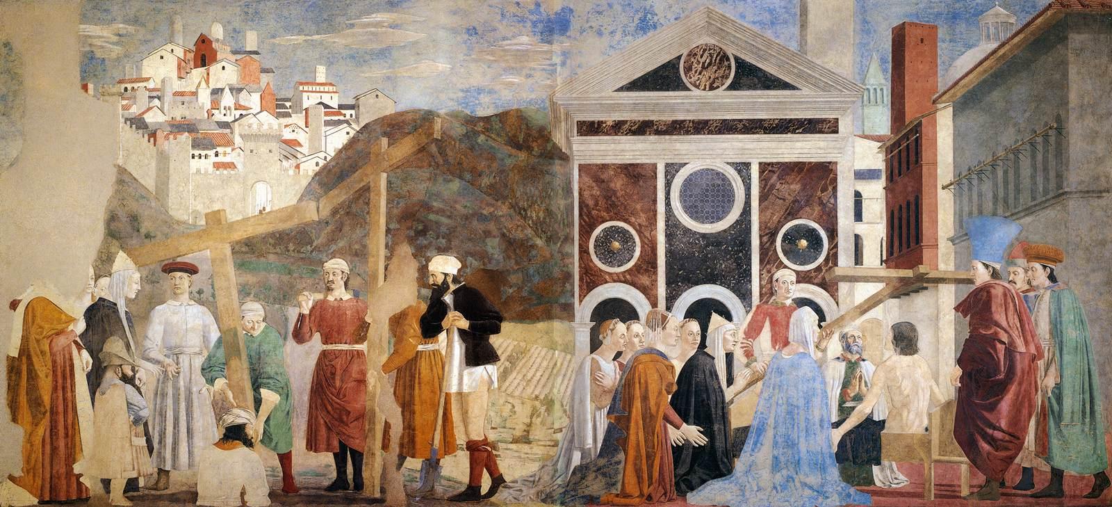 Piero della Francesca,Ritrovamento delle tre croci e Verifica della Croce, affresco, Basilica di San Francesco, Arezzo