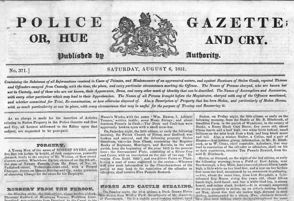 File Police Gazette Or Hue And Cry 6 August 1831 Jpg