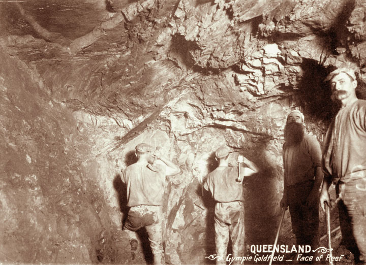 File:Queensland State Archives 2249 Four miners at face of reef in Gympie Goldfield c 1897.png