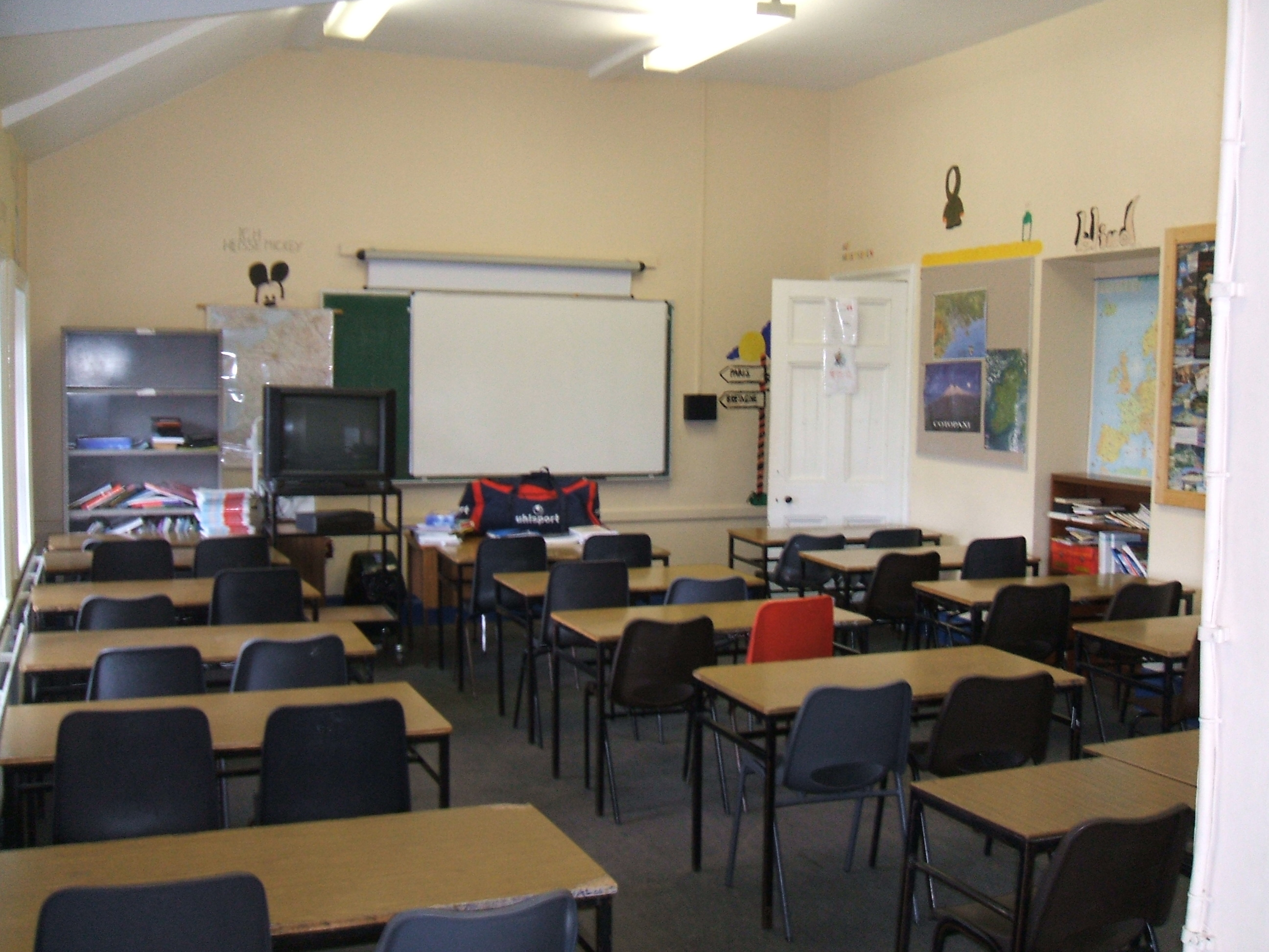 School classroom without students