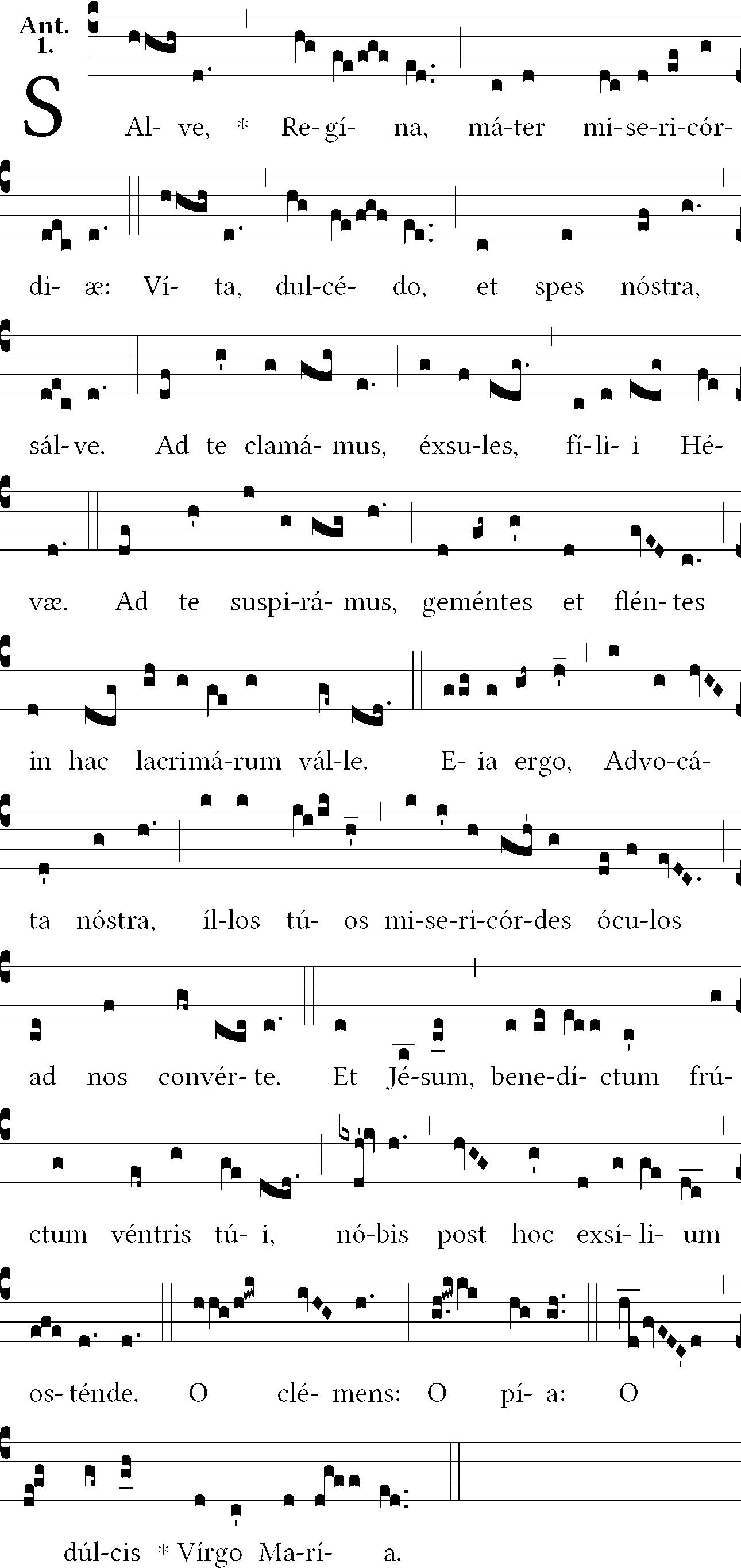 Salve Regina in cantus planus & gregorian notation