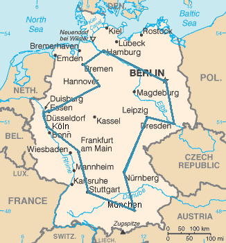 An optimal traveling salesperson tour through Germany s 15 largest cities. It is the shortest among 43,589,145,600Take one city, and take all possible orders of the other 14 cities. Then divide by two because it does not matter in which direction in time they come after each other: 14!/2 = 43,589,145,600. possible tours visiting each city exactly once.