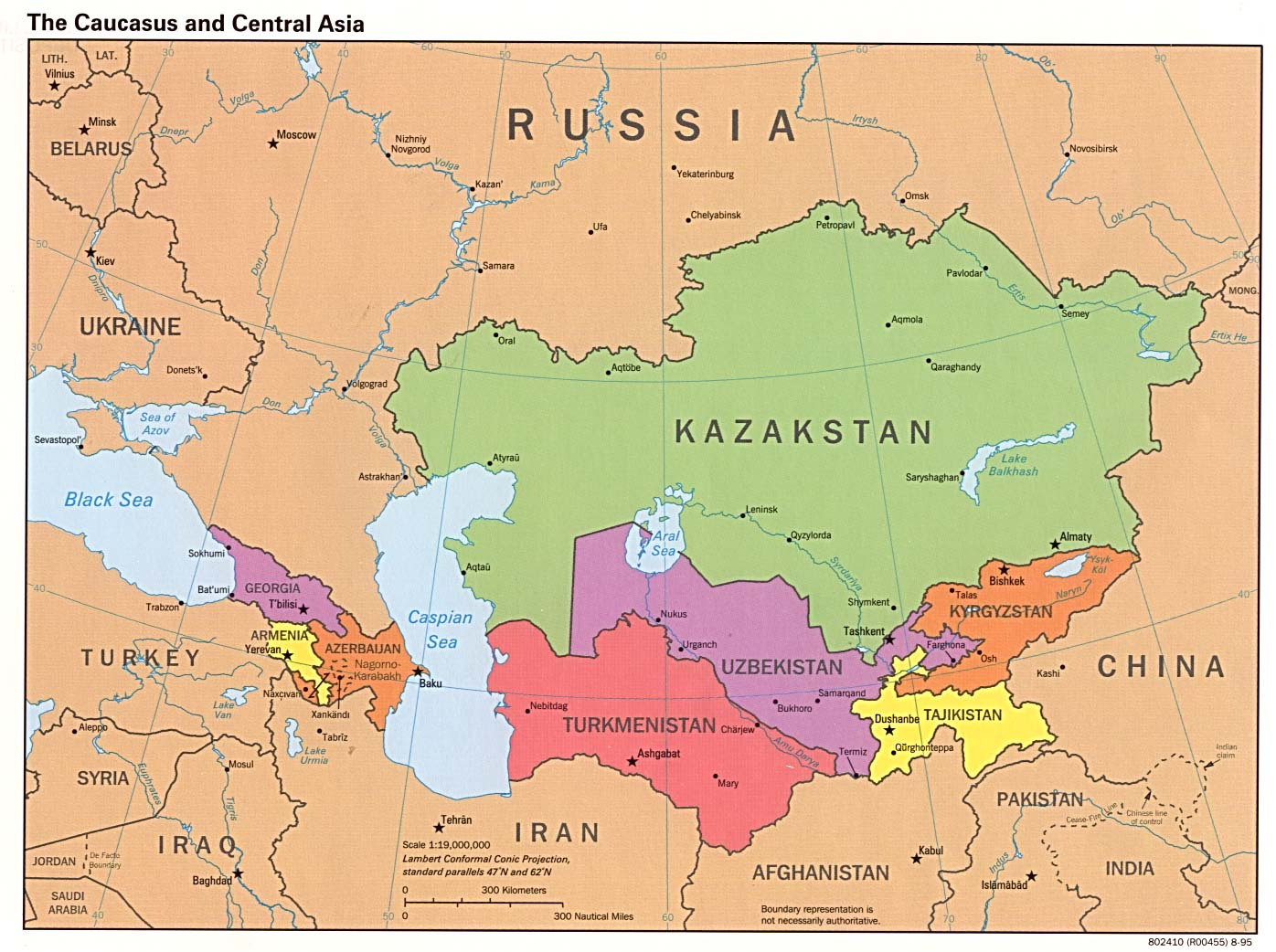 Political Map Of Central Asia.File The Caucasus And Central Asia Political Map Jpg Wikimedia