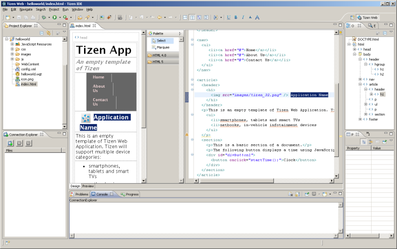 File:Tizen SDK IDE View - Web App png - Wikimedia Commons
