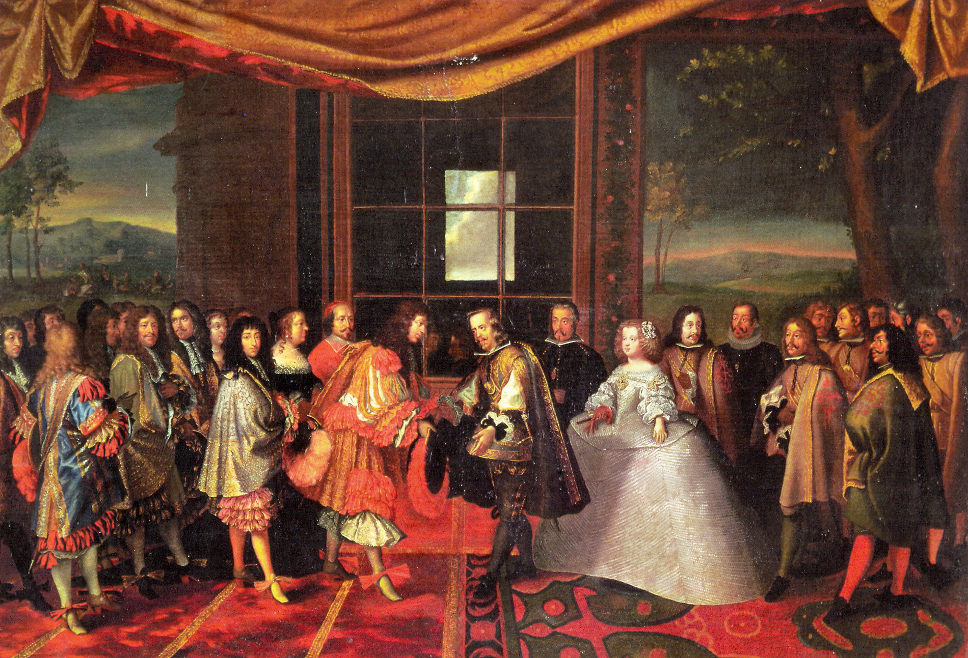 Meeting of Philip IV of Spain and Louis XIV of France on 7 July 1660 at Pheasant Island.