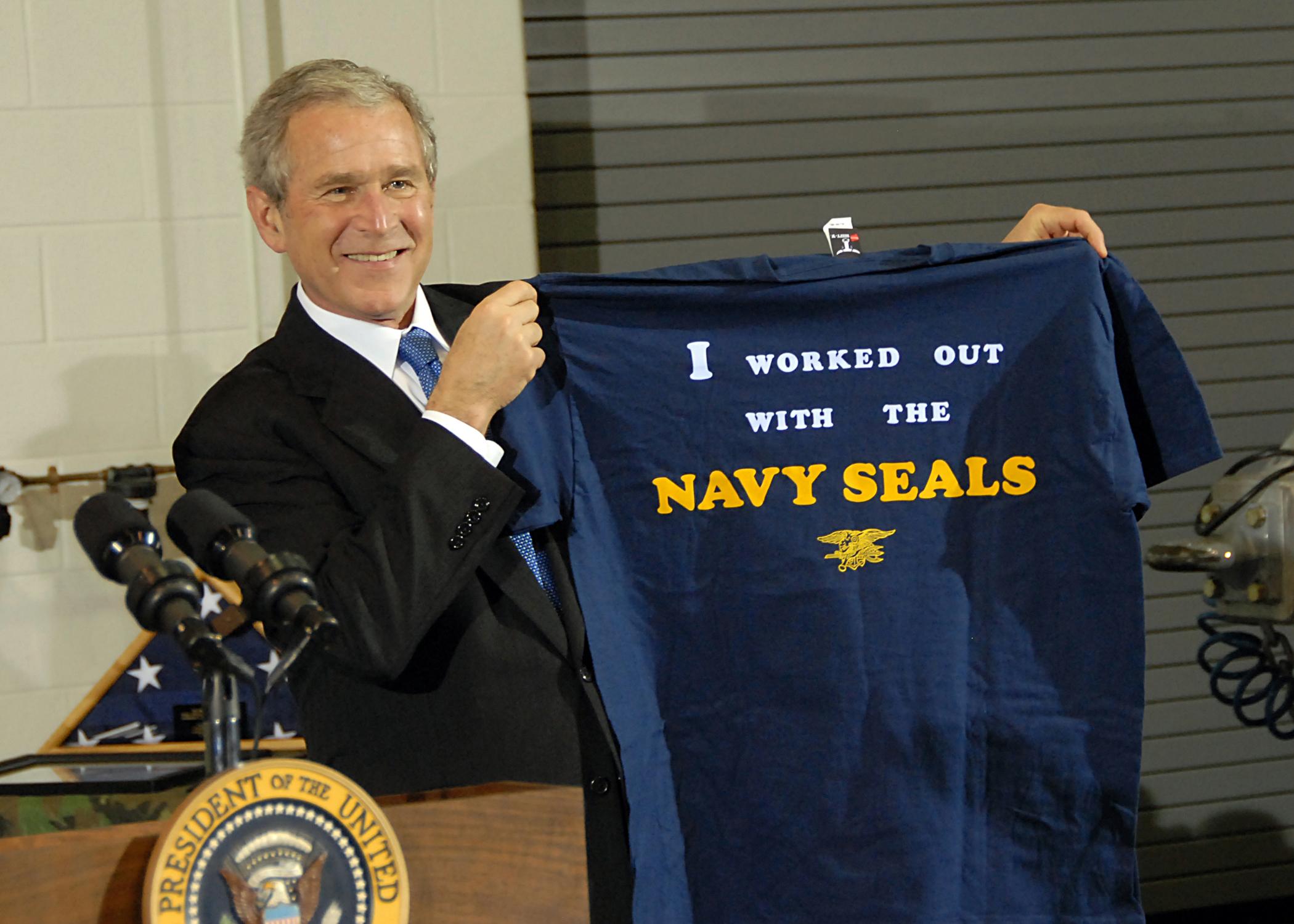 File:US Navy 090110-N-8689C-100 President George W. Bush displays ...