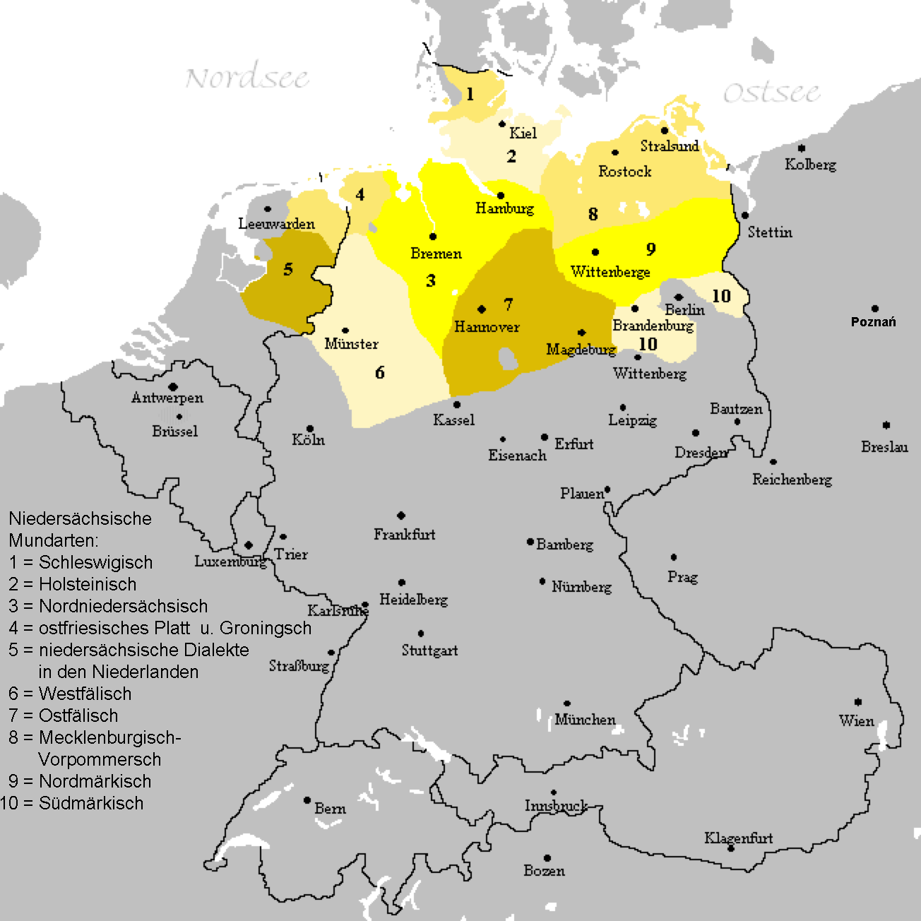 Maps showing the different Low German dialects.