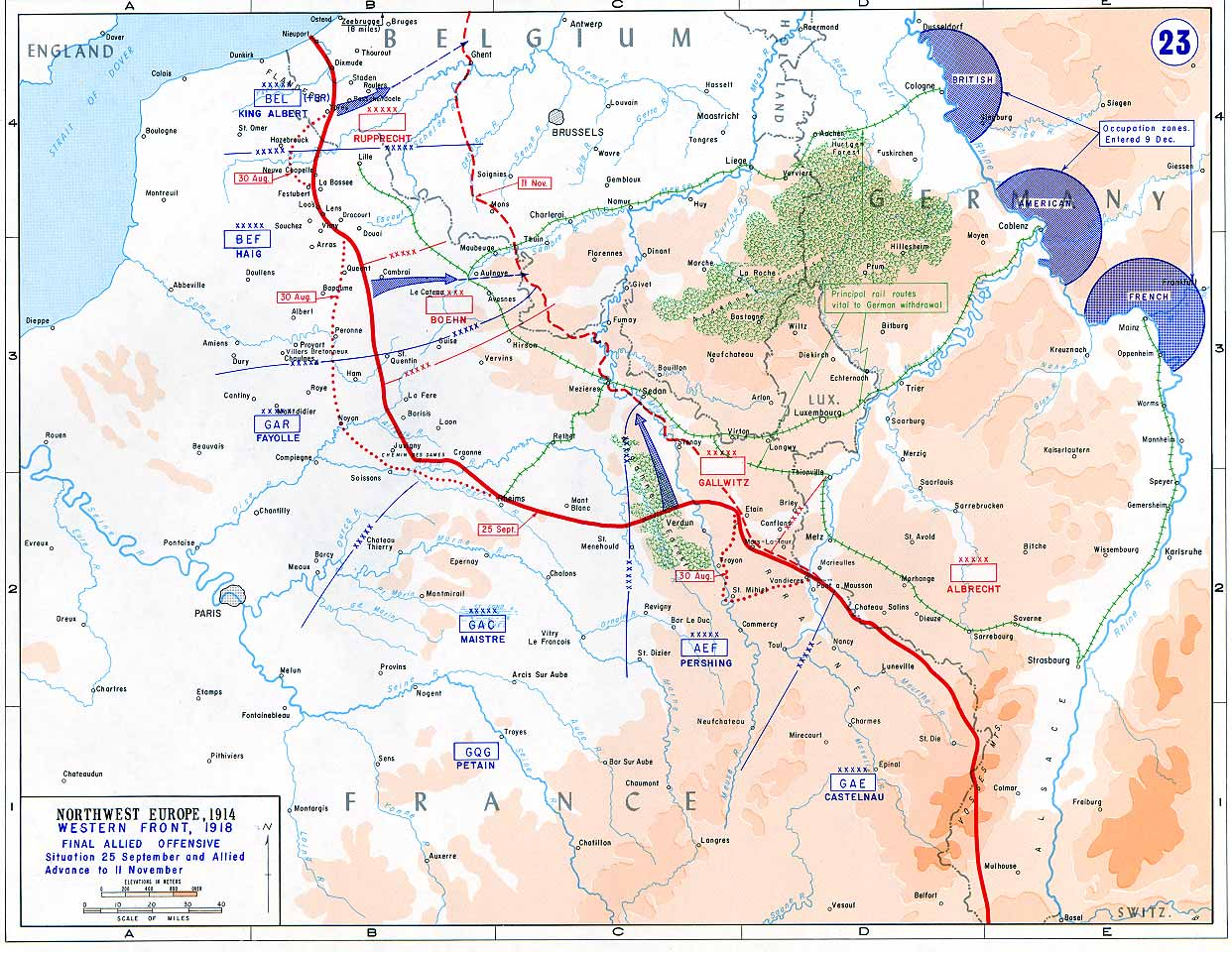 Map of the final Allied offensives on the en:Western Front (World War I), 1918