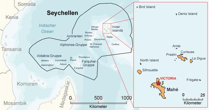 Karte der Seychellen