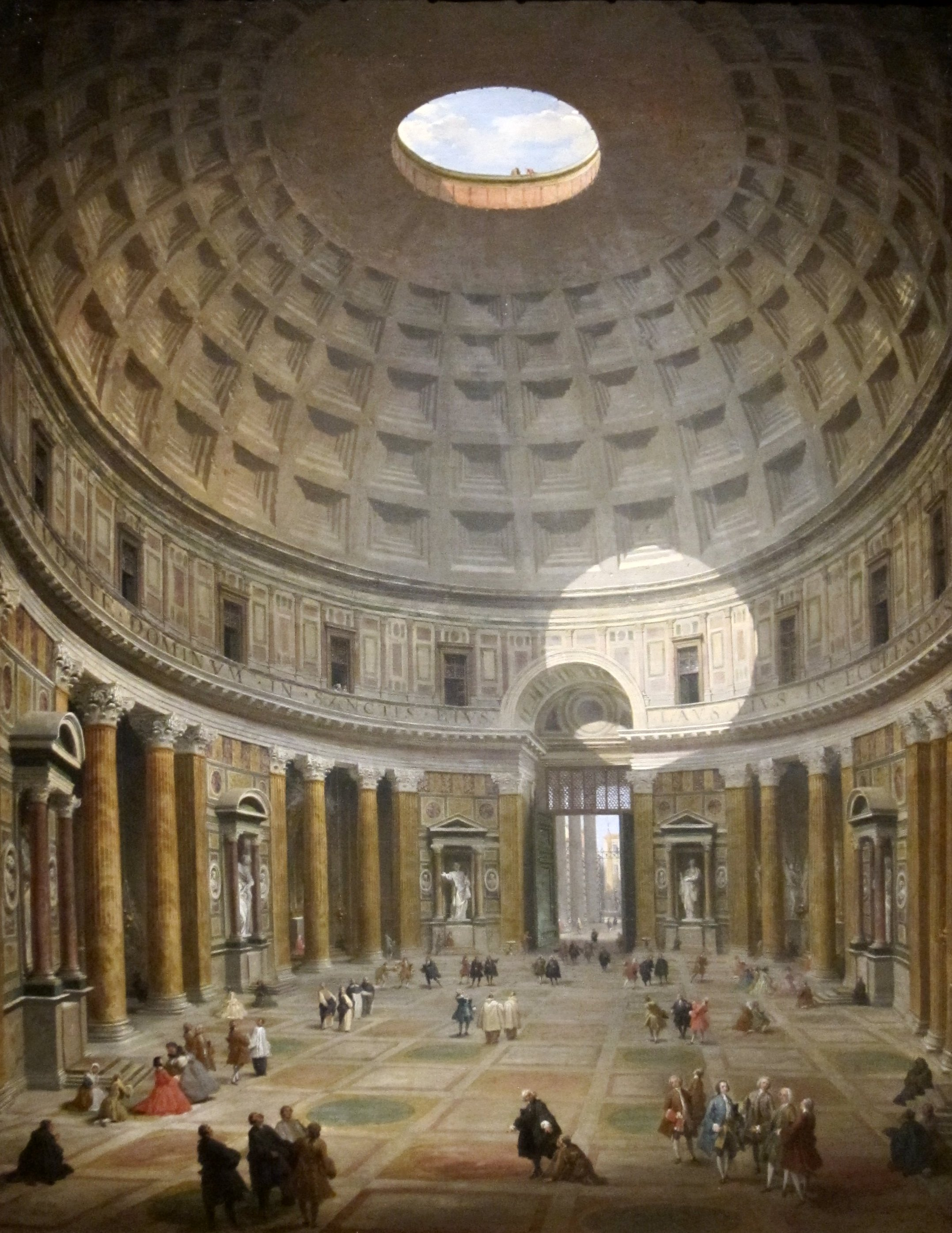 File 39 interior of the pantheon 39 by giovanni paolo panini for Inside interieur