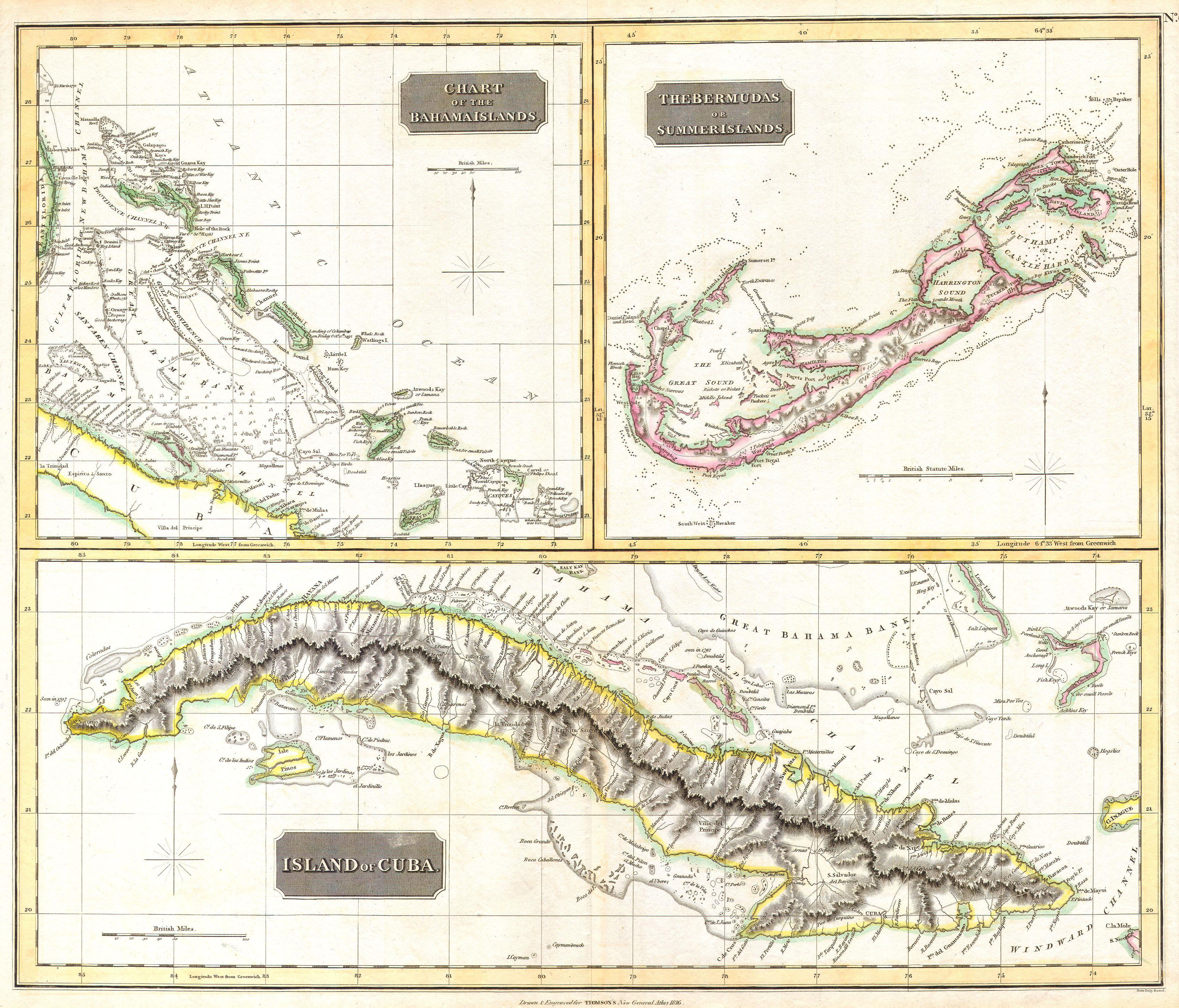 File:1815 Thomson Map of Cuba. Bermuda ^ the Bahamas - Geographicus on