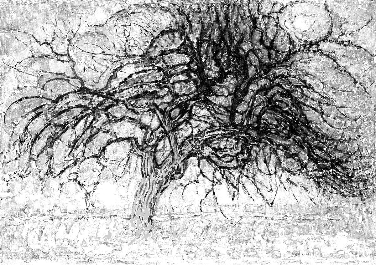 Filealbero Rosso Di Piet Mondrian Illustrazione In Bianco E Nero