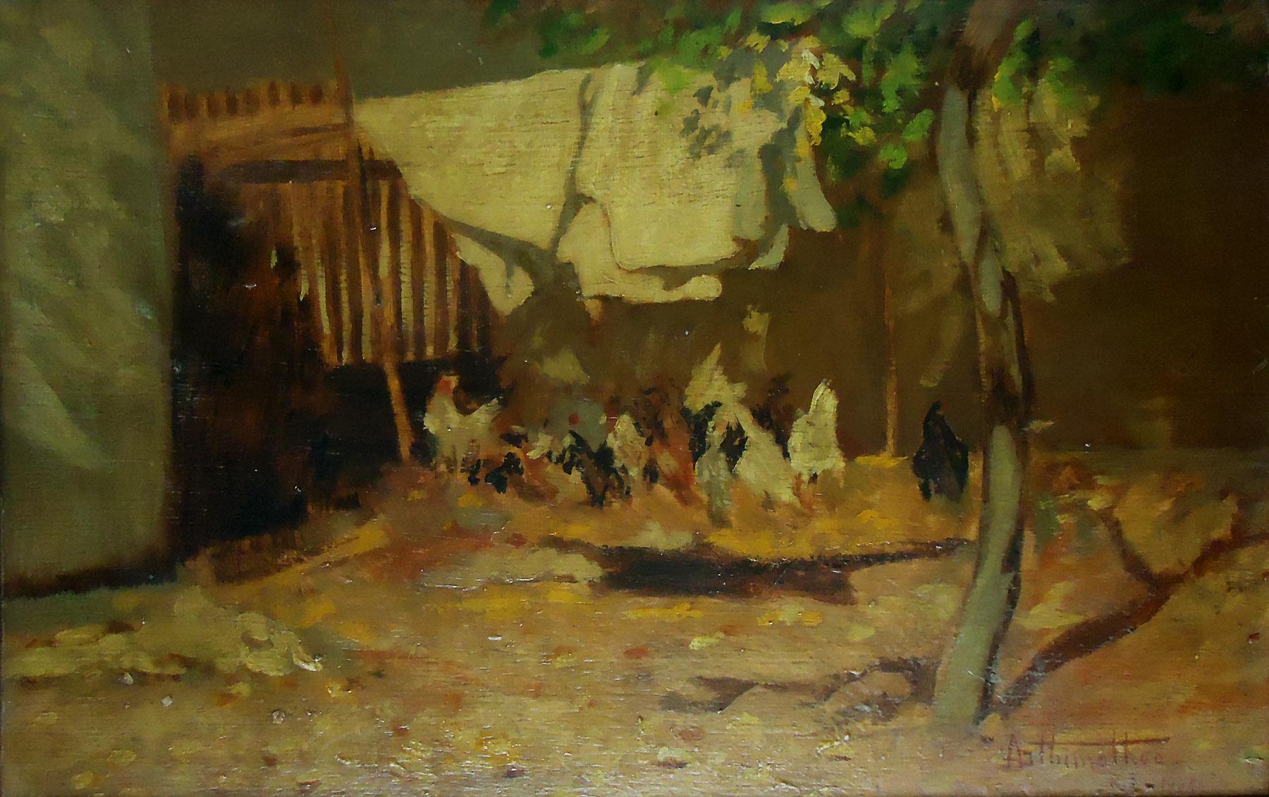 no varal óleo sobre madeira Rio de Janeiro 1921 22 x 35 cm Photo #664819 1800x1130