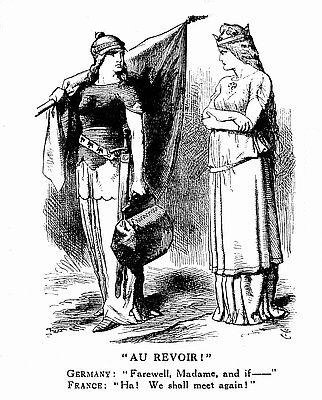 John Tenniel: Au Revoir!, Punch'' 6 August 1881 Au Reviour - Germany and France.jpg