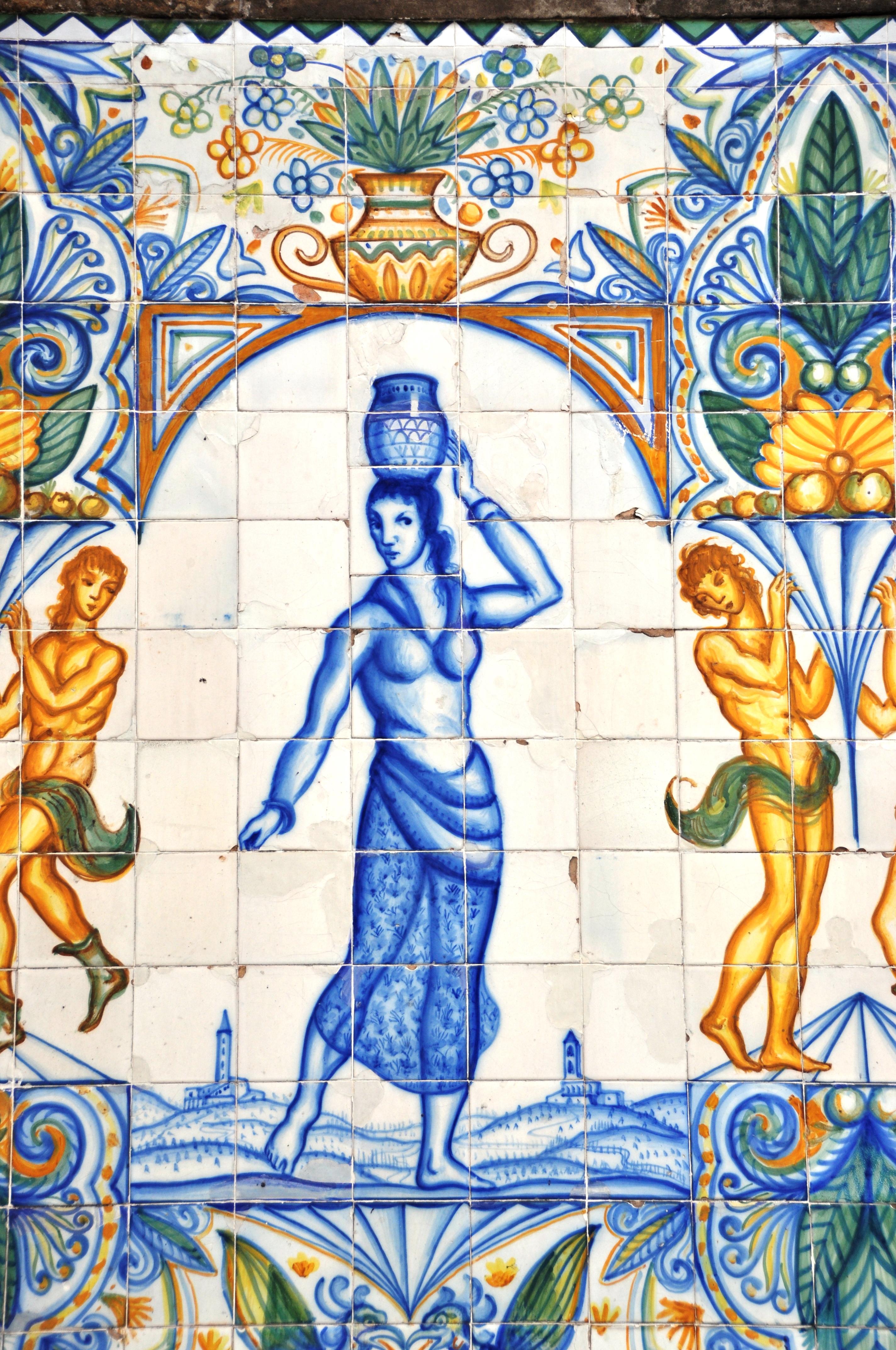 File:Barcelona (Portal de l\'Angel avenue). Saint Anne fountain. Tile ...