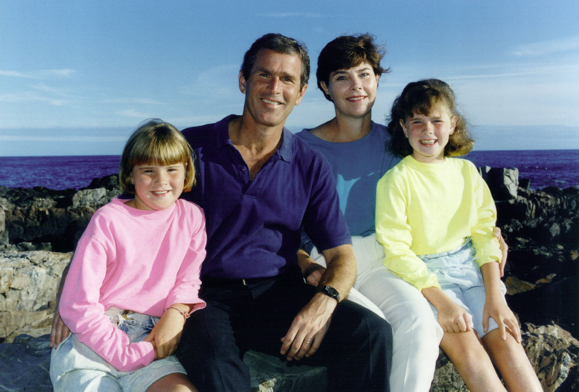 George W. and Laura Bush with their daughters Jenna and Barbara, 1990