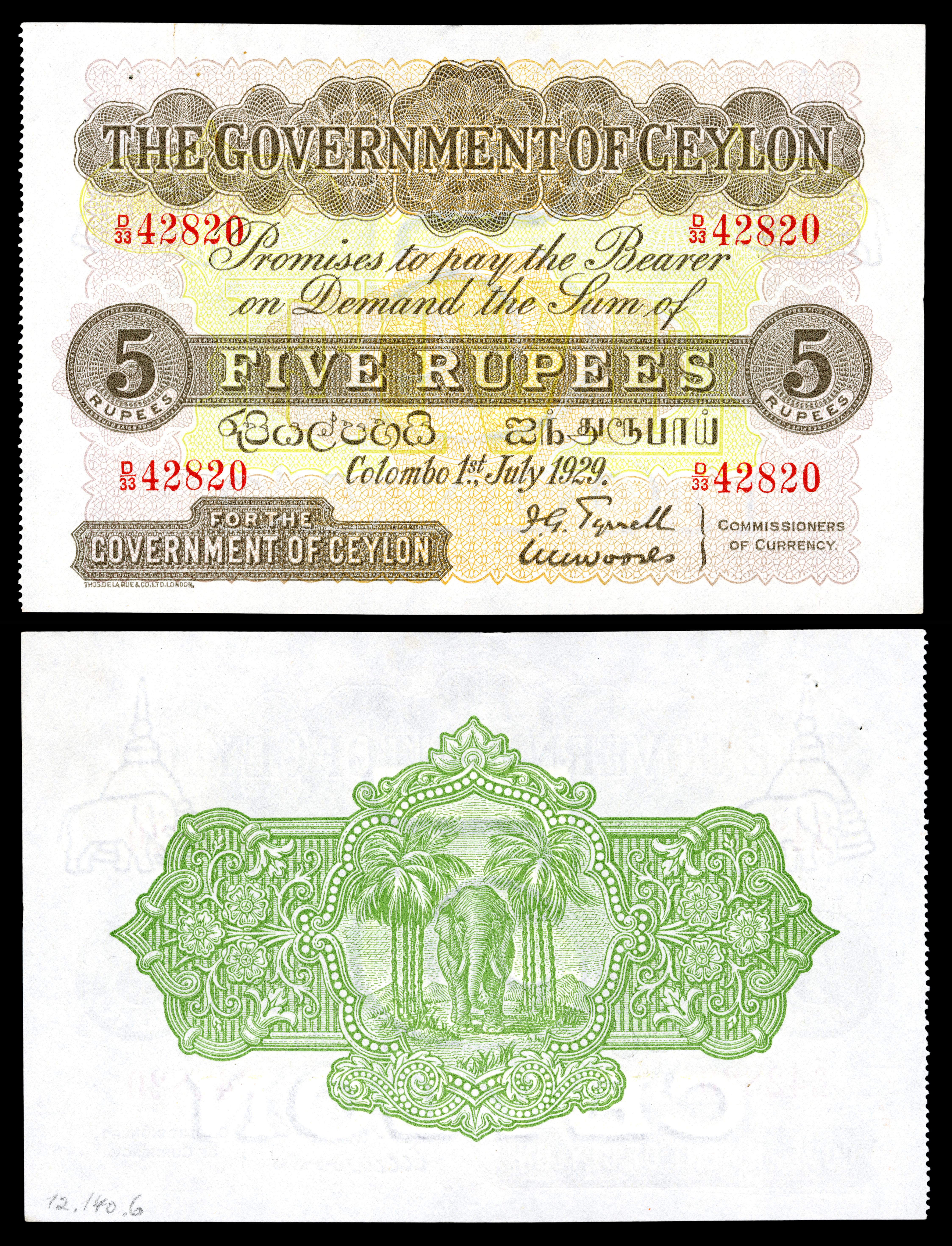 Government Of Ceylon 5 Rus 1929