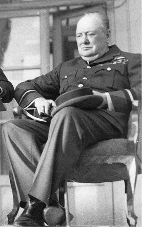 Churchill in his air commodore's uniform at the 1943 Tehran Conference