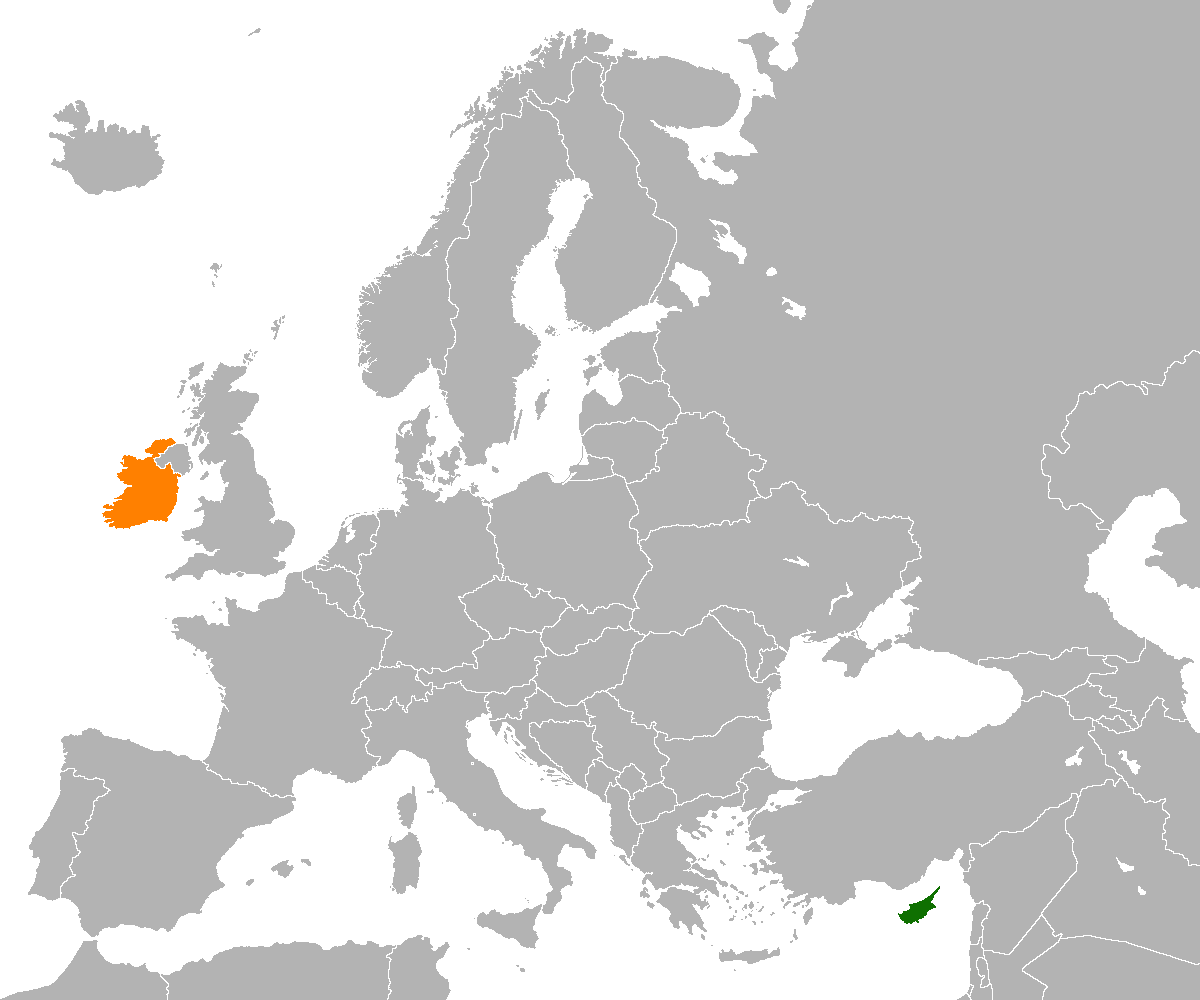 Map indicating locations of Cyprus and Ireland