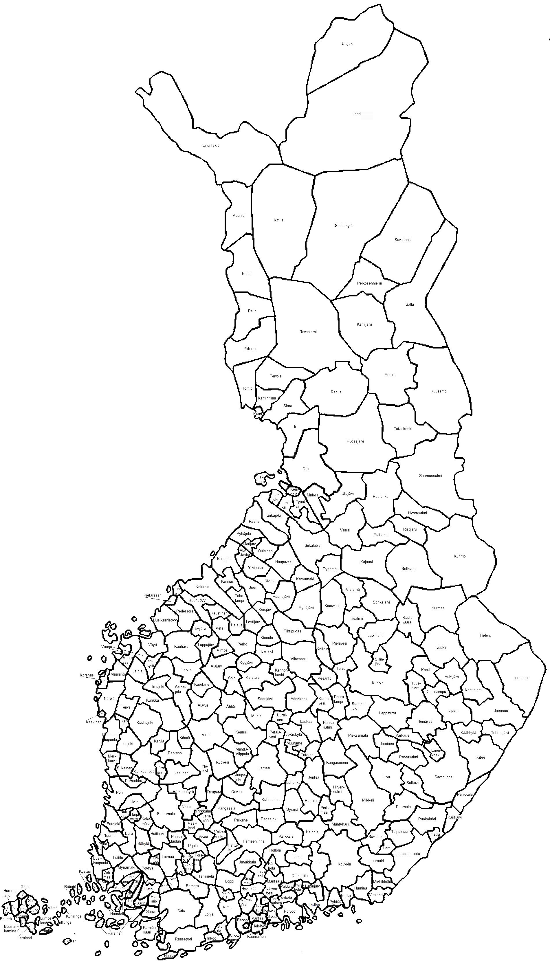 Kuntarajat Kartta