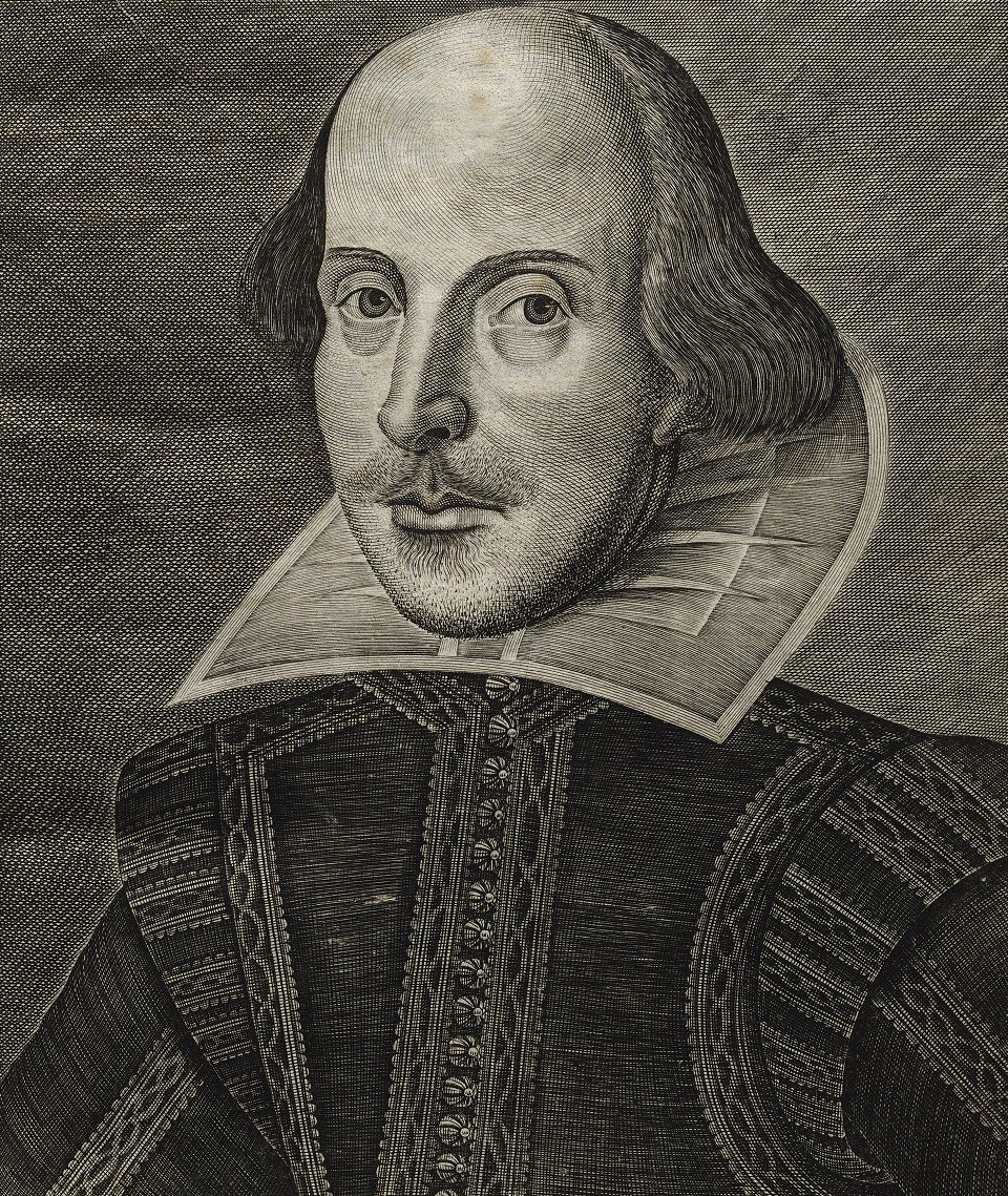 Der Porträt-Stich Shakespeares von [[Martin Droeshout