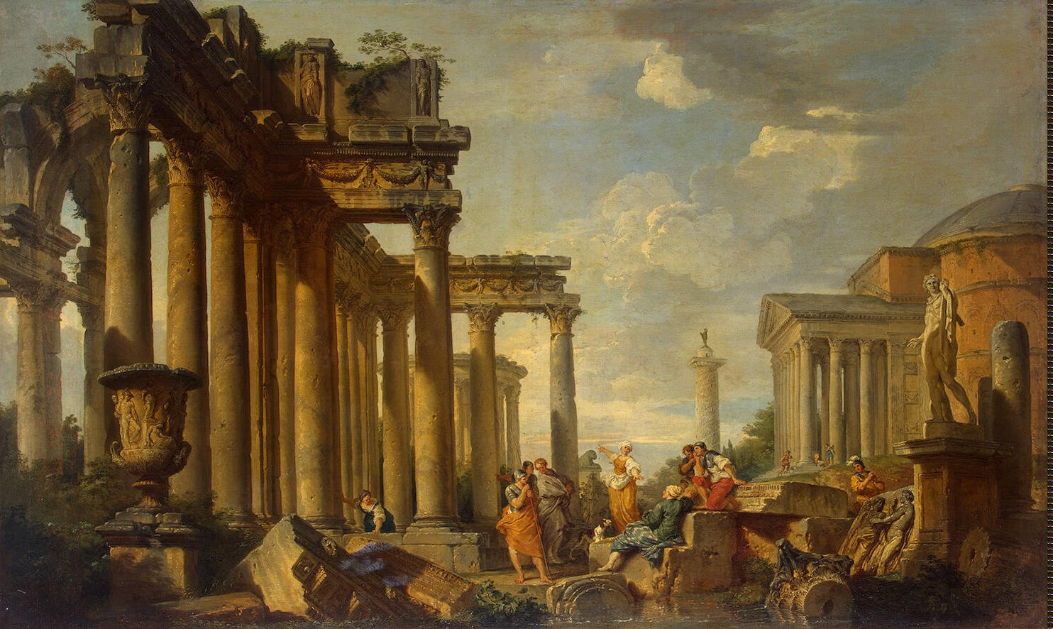 An architectural capriccio with figures among Roman ruins by Giovanni Paolo Pannini (wikicommons)