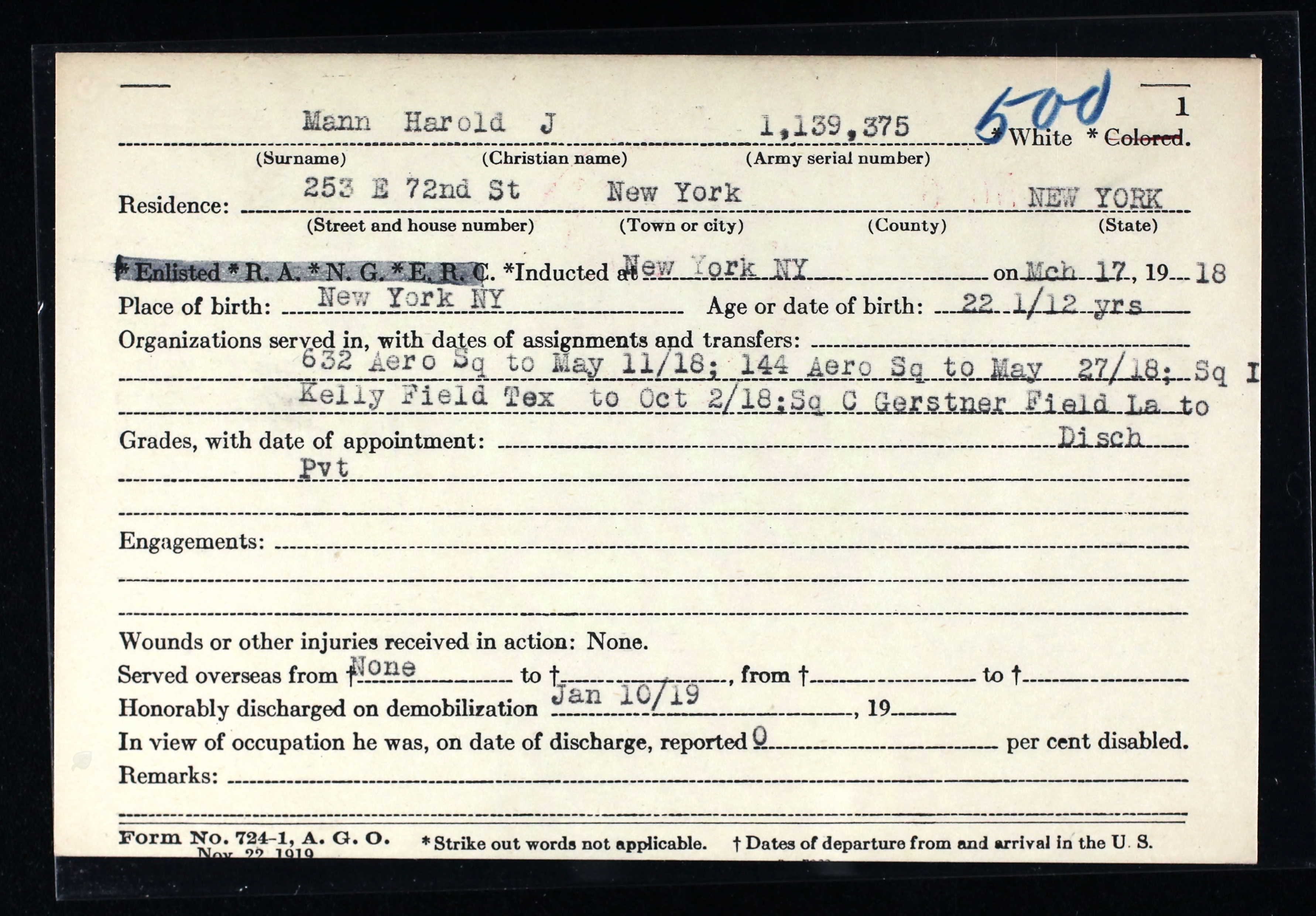 File Harold J Mann Brooks Benedict Honorable Discharge
